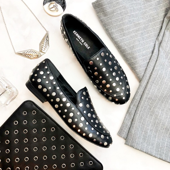 Kenneth Cole Shoes - Black Leather Studded Loafers